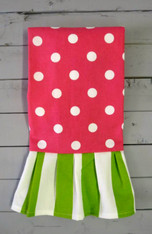 Pink Polka Dot and Green Stripe Ruffle Hand Towel