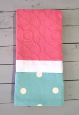 Pink and Teal Dot Hand Towel