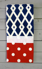 Navy Diamond and Red Dot Hand Towel