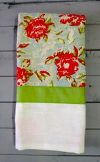 Floral and White Linen Hand Towel