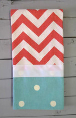 Coral Chevron and Teal Dot Hand Towel