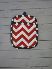 Red and Navy Pot Holder