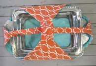 Orange Diamond and Teal Casserole Carrier