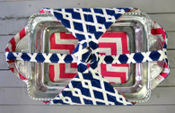 Navy Diamond and Pink Greek Key Casserole Carrier