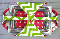 Green Chevron and Pink Dot Casserole Carrier