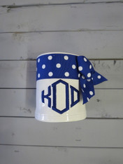 Blue Polka Dot Ribbon Koozie
