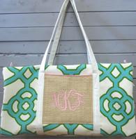 Teal Geometric Duffle Bag
