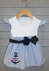 Bow Dress with Split Anchor Monogram