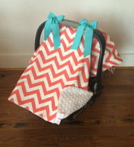 Coral Chevron Car Seat Cover