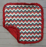 Blue and Red Chevron Thumb Blanket
