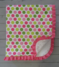 Pink and Green Dot Blanket