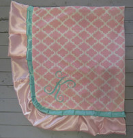 Pink Quatrefoil and Tiffany Blue Blanket