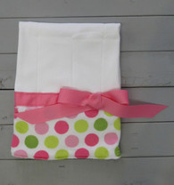 Pink and Green Dot Burp Cloth