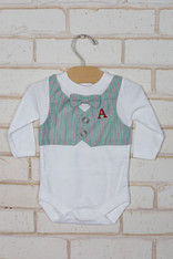 Green Stripe Bow Tie Vest Onesie