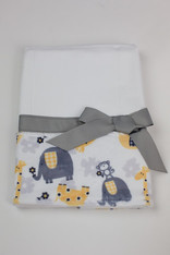 Yellow Zoo Burp Cloth with Bow
