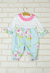 Kiara Onesie Blue with Roses