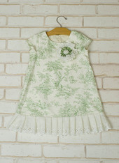 Green Toile Flapper Dress