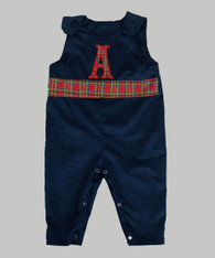 Navy Corduroy Jon Jon with Plaid band