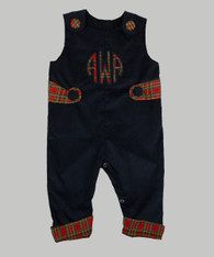 Navy Corduroy with Christmas Plais Trim