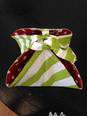Green and White Striped Casserole Carrier