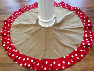 Burlap Tree Skirt with Red and White Polka Dot Trim