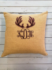 Burlap Pillow with Appliqued Reindeer and Initials