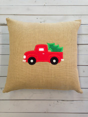 Burlap Pillow with Red Truck and Tree