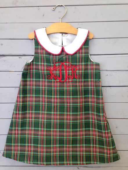 This shift dress is great for the holidays. The green, red, and white plaid really set the holiday theme. Monogrammed letters and color of choice. Very easy and neat to personalize.