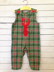 Boy long Jon Jon perfect for fall and winter! Applique Deer on front to match red in background and buttons.