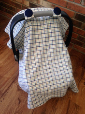 Plaid Car Seat Cover with Navy Buttons