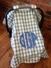 Plaid Car Seat Cover with Applique