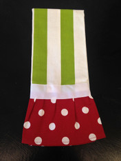 Red and Green Hand Towel with Ruffle