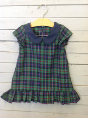 Green and Navy Plaid Shift Dress with Ruffles