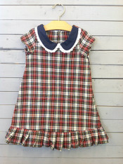 Red and Navy Plaid Shift Dress