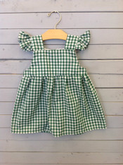 Green and White Checkered Kelly Dress