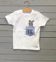 Bunny in Pocket Applique T-Shirt with Initials
