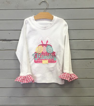 Pink Applique Truck with Easter Eggs T-Shirt