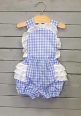 Blue Checkered Elise with White Eyelet