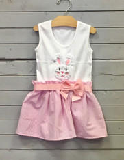 Pink Bunny Face Bow Dress
