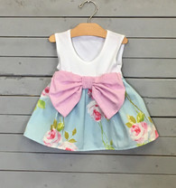 Sleeveless Rose Bow Dress