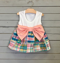 Sleeveless Patchwork Bow Dress