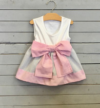 Sleeveless Pink Seersucker Bow Dress