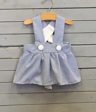 Blue and White Seersucker Charlotte Dress
