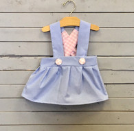 Blue Charlotte Dress with Pink Gingham
