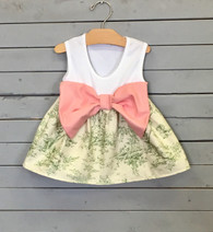 Green Toile Bow Dress