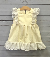 Yellow Pinafore Dress with White Eyelet