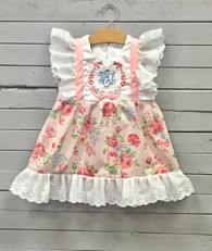 Pink Floral Pinafore Dress with White