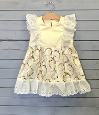 Yellow Floral Pinafore with Eyelet