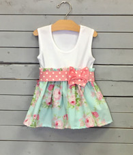 Rosey Bow Dress with Pink Polka Dot Bow