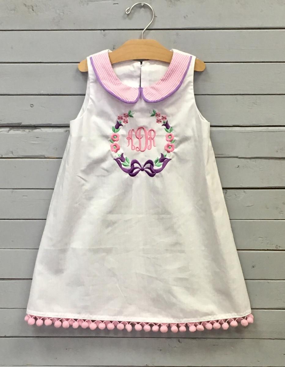 56713fc7 White Shift Dress with Monogram. Price: $50.00. Image 1